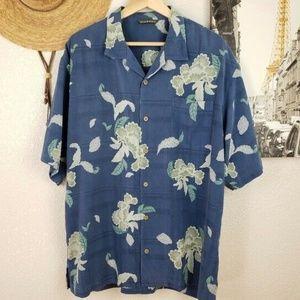 Tommy Bahama Men's Blue Tropical Print Silk Shirt